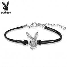 Náramok, dvojitá koženková šnúrka čiernej farby, zirkónový Playboy zajačik