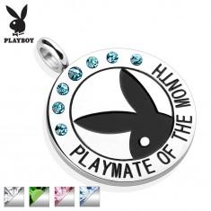 Oceľový okrúhly prívesok striebornej farby, čierny Playboy zajačik, zirkóniky, nápis