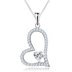 Strieborný náhrdelník 925, asymetrická kontúra srdca, číre zirkónové srdiečko