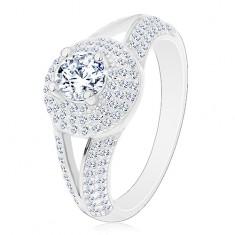 Strieborný prsteň 925 - zásnubný, rozdelené ramená, žiarivý kruh so zirkónom