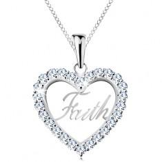 Strieborný 925 náhrdelník, zirkónový obrys srdca, nápis Faith, tenká retiazka