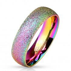 Dúhový prsteň z ocele 316L s trblietavým povrchom, 6 mm