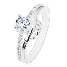 Zásnubný prsteň, striebro 925, číry zirkón a trblietavé ramená, lístočky