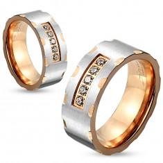 Dvojfarebný oceľový prsteň, strieborný a medený odtieň, zárezy, číre zirkóny, 6 mm