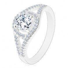 Ligotavý zásnubný prsteň, striebro 925, rozdvojené ramená, kruh so zirkónom