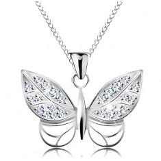 Šperky eshop - Náhrdelník zo striebra 925 - retiazka a motýľ zdobený zirkónmi a výrezmi AC21.12
