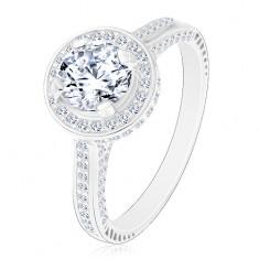 Strieborný 925 prsteň, žiarivý okrúhly zirkón čírej farby v trblietavom kruhu