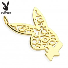 Oceľový prívesok zlatej farby, zajačik Playboy, vzor z krížikov a kruhov