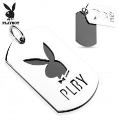 Prívesok z ocele 316L, dve lesklé známky, zajačik Playboy, písmená PLBY