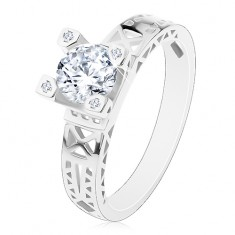 Zásnubný prsteň - striebro 925, výrezy na ramenách, číry zirkón v ozdobnom kotlíku