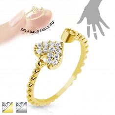 Nastaviteľný ródiovaný prsteň, vrúbky na ramenách, srdiečko a číry zirkón