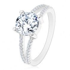 Strieborný 925 prsteň - zásnubný, rozdelené zirkónové ramená, žiarivý okrúhly zirkón