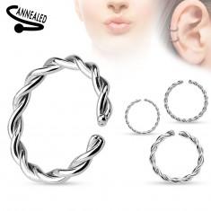 Piercing do nosa alebo ucha, chirurgická oceľ, špirálovito zatočený krúžok