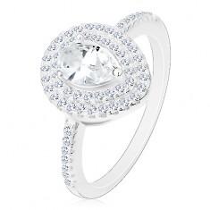 Strieborný zásnubný prsteň 925, číra brúsená kvapka v dvojitej kontúre