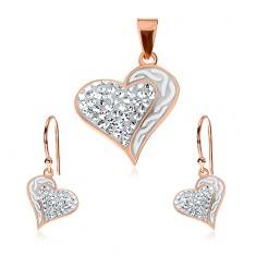 Šperky eshop - Strieborný set 925 - náušnice a prívesok medenej farby 73d4a33a283
