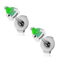 Oceľové náušnice striebornej farby, syntetické opálové srdiečka zelenej farby, 3 mm
