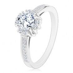 Zásnubný prsteň - striebro 925, žiarivý číry zirkón, dvojice drobných zirkónikov