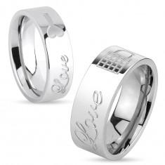 Lesklý oceľový prsteň striebornej farby, nápis Love a zamknutá kladka, 8 mm