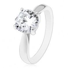 Zásnubný prsteň - striebro 925, lesklé zaoblené ramená, veľký číry zirkón