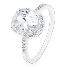 Strieborný 925 prsteň - zásnubný, veľký oválny zirkón čírej farby v kotlíku, číry lem