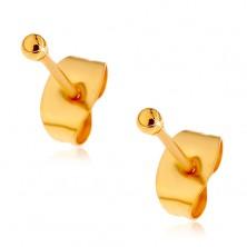 Oceľové náušnice zlatej farby s puzetovým zapínaním, drobné lesklé guľôčky, 2 mm