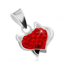Strieborný prívesok 925 - srdce s rožkami, čiernym chvostom a červenými zirkónmi