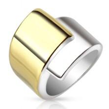 Oceľový prsteň, široké prekrývajúce sa ramená zlatej a striebornej farby