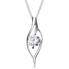 Strieborný 925 náhrdelník, asymetrický obrys zrnka s ligotavým čírym zirkónom