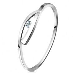 Prsteň v bielom zlate 585 s trblietavým diamantom, lesklé zvlnené ramená