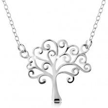 Strieborný náhrdelník 925, tenká retiazka a prívesok - lesklý strom života
