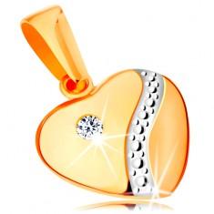 Zlatý 14K prívesok - súmerné vypuklé srdce so zirkónom a vlnkou z bieleho zlata