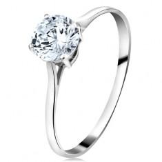 Prsteň z bieleho 14K zlata - veľký okrúhly zirkón čírej farby, úzke ramená