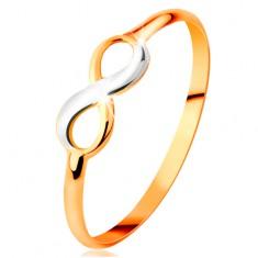 Zlatý prsteň 585 - dvojfarebný lesklý symbol nekonečna, úzke hladké ramená