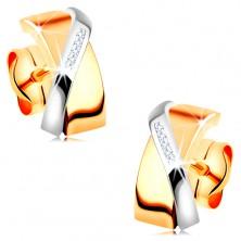 Dvojfarebné náušnice v 14K zlate - prekrývajúce sa oblúčiky, číre zirkóniky