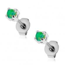 Oceľové puzetové náušnice, okrúhly syntetický opál zelenej farby, 3 mm