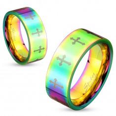 Farebný oceľový prsteň s lesklým povrchom a krížikmi striebornej farby, 6 mm
