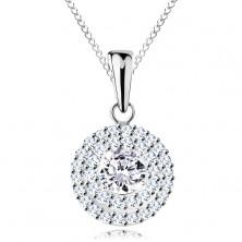 Strieborný náhrdelník 925 - prívesok a retiazka, okrúhly číry zirkón v dvojitej kontúre