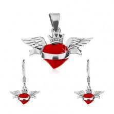 Sada náušníc a prívesku zo striebra 925, červené okrídlené srdce, stuha, korunka