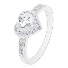 Zásnubný prsteň - striebro 925, číre srdiečko, trblietavá kontúra a ramená