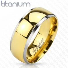 Obrúčka z titánu - lesklý pás v zlatom odtieni a úzke okraje striebornej farby, 8 mm