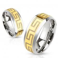 Dvojfarebná oceľová obrúčka, stredový pás zlatej farby, grécke symboly, 6 mm