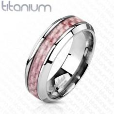 Titánová obrúčka striebornej farby, stredový pás z ružových vlákien, 6 mm
