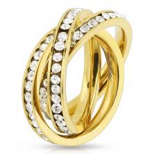 Trojitý prsteň z ocele 316L zlatej farby, obruče s okrúhlymi čírymi zirkónmi
