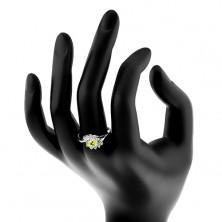 Prsteň s rozdelenými ramenami, oblúčiky z čírych zirkónov, farebný zirkónový ovál