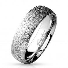 Prsteň z chirurgickej ocele s pieskovaným povrchom, strieborná farba, 6 mm