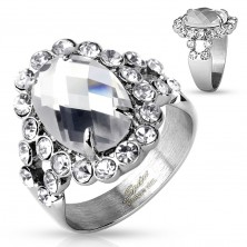 Mohutný prsteň z ocele 316L striebornej farby, veľký číry zirkón s ligotavým lemom