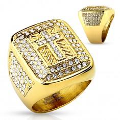 Mohutný prsteň zlatej farby, oceľ 316L, číre zirkóniky, latinský krížik, zárezy