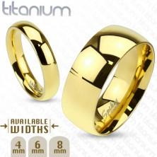 Lesklá obrúčka z titánu zlatej farby s hladkým vypuklým povrchom, 6 mm