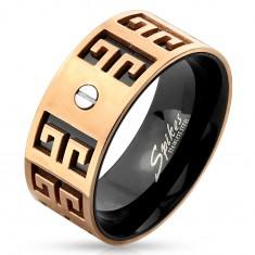 Oceľový prsteň - medeno-čierna kombinácia, vyryté symboly, malá skrutka, 9 mm