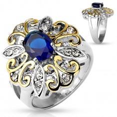 Mohutný prsteň z ocele 316L, veľký dvojfarebný kvet, tmavomodrý oválny zirkón